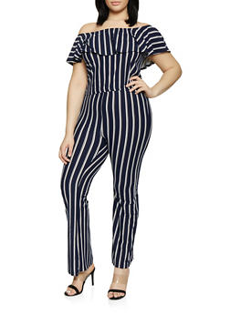 Plus Size Striped Off the Shoulder Top with Flared Pants - 0392061630175