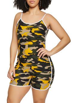 Plus Size Soft Knit Camo Romper - 0392061630275