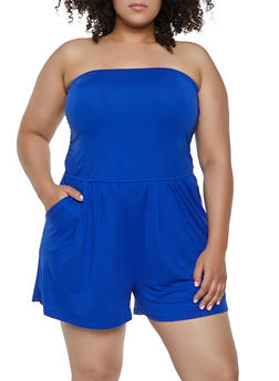 Plus Size Soft Knit Tube Romper - 0392061630283
