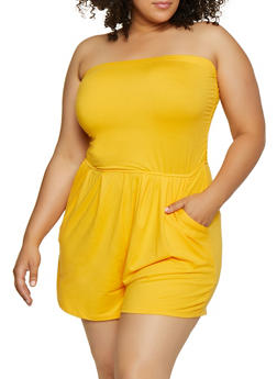 Plus Size Soft Knit Tube Romper - 0392061630283
