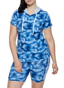 Plus Size Tie Dye Hooded Top and Bike Shorts - 0392061631609