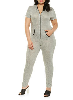 Plus Size Hooded French Terry Jumpsuit - 0392061632493