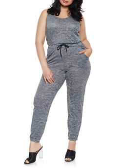 Plus Size Drawstring Waist Marled Jumpsuit - 0392061632494