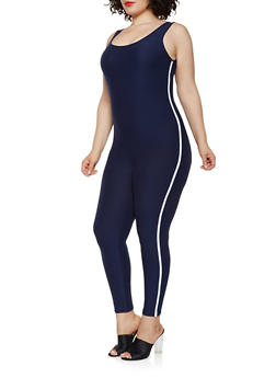 Plus Size Soft Knit Side Stripe Catsuit - 0392061634709