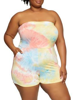 Plus Size Tie Dye Tube Romper - 0392073372270