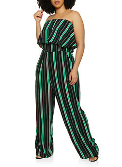 Plus Size Striped Crepe Knit Strapless Jumpsuit - 0392074281184