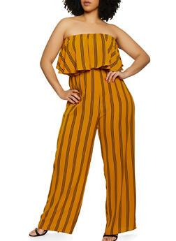 Plus Size Striped Ruffle Tube Jumpsuit - 0392074281185