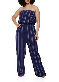 Plus Size Ruffle Striped Tube Jumpsuit - 0392074281186