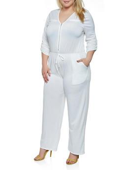 Plus Size Zip Neck Palazzo Jumpsuit - 0392074281188