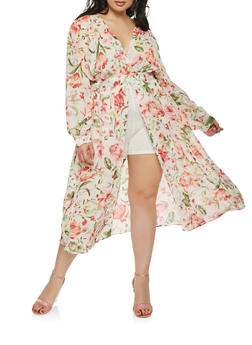 Plus Size Floral Chiffon Maxi Romper - 0392074281503