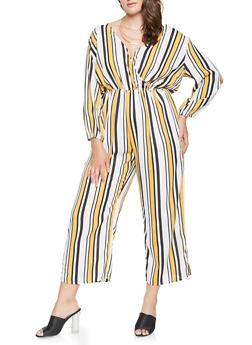 Plus Size Striped Faux Wrap Jumpsuit - 0392074281912