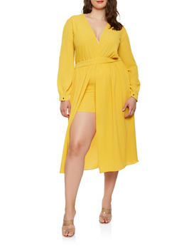 Plus Size Long Sleeve Skirt Overlay Romper - 0392074281914