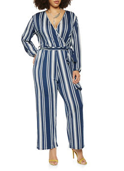 Plus Size Striped Long Sleeve Jumpsuit - 0392074281915