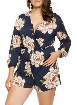 Plus Size Floral Faux Wrap Romper - 0392074281916