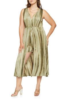 Plus Size Tie Dye Maxi Romper - 0392074281919