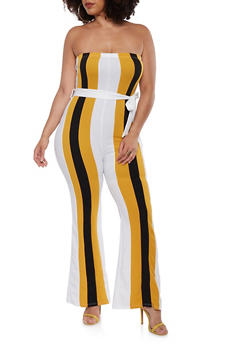 Plus Size Belted Color Block Jumpsuit - 0392074283585