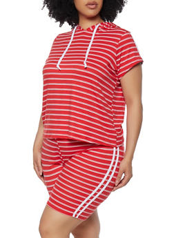 Plus Size Striped Hooded Top and Biker Shorts Set - 0393073372244