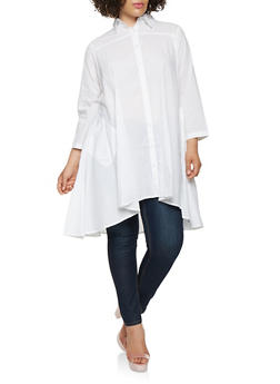 Plus Size High Low Button Front Tunic Top - 0803030841401