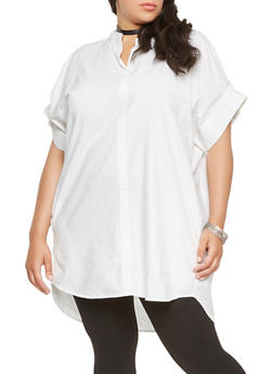 Plus Size Poplin Tunic Top - 0803030844391