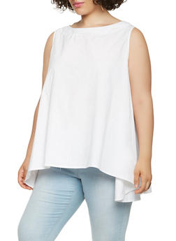 Plus Size Poplin Top - 0803030844397
