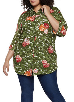 Plus Size Floral Camo Shirt - 0803038340603