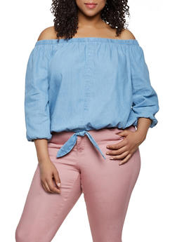 Plus Size Denim Off the Shoulder Tie Hem Top - 0803038346171