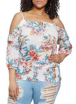 Plus Size Floral Ruffle Cold Shoulder Top - 0803038346311