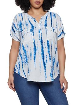 Plus Size 2 Pocket Tie Dye Top - 0803038349603
