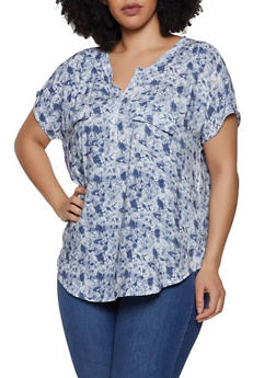 Plus Size 2 Pocket Tie Dye Top - 0803038349603