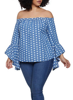 Plus Size Chambray Polka Dot Off the Shoulder Top - 0803038349621