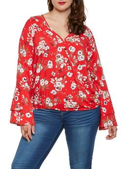Plus Size Floral Faux Wrap Top - 0803051060189