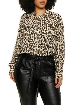 Plus Size Leopard Crepe Knit Shirt - 0803051060973