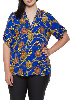 Plus Size Printed High Low Blouse - 0803051060974