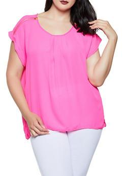 Plus Size Zip Shoulder Detail Blouse - 0803051061017