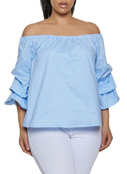 Plus Size Bubble Sleeve Striped Off the Shoulder Top - 0803054260489