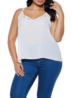 Plus Size Lace Trim Cami - 0803054265726