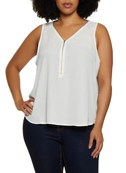 Plus Size Half Zip Sleeveless Blouse - 0803054267865