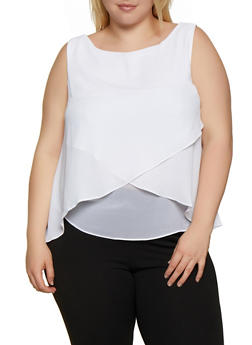 Plus Size Chiffon Overlay Sleeveless Top - 0803054268102