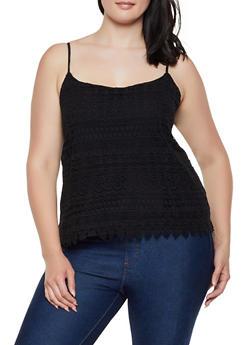 Plus Size Crochet Scalloped Hem Cami - 0803054268106