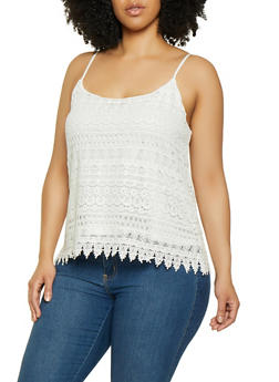 Plus Size Crochet Scalloped Hem Cami - 0803054268106