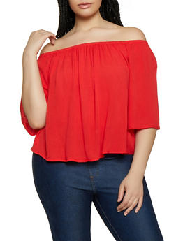 bac64c1d214c7 Plus Size Off The Shoulder Tops