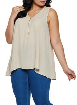 Plus Size Half Zip Sharkbite Hem Blouse - 0803054269427