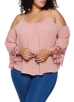 Plus Size Crochet Bell Sleeve Cold Shoulder Top - 0803054269837
