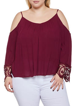 Plus Size Crochet Bell Sleeve Cold Shoulder Top - 0803054269837