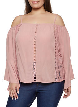 Plus Size Lace Insert Cold Shoulder Top - 0803054269858