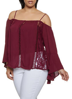 1cf05bdba02e15 Plus Size Lace Insert Off the Shoulder Top - 0803054269858
