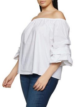 Plus Size Tiered Sleeve Off the Shoulder Top - 0803054269943