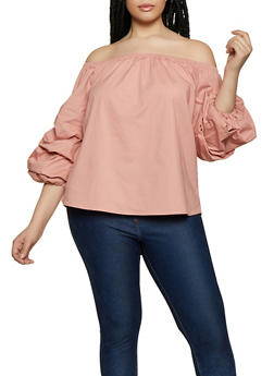 612071e669e2a Plus Size Tiered Sleeve Off the Shoulder Top - 0803054269943