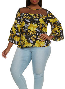 Plus Size Floral Tiered Sleeve Top - 0803056120696