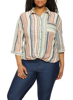 Plus Size Linen Twist Front Shirt - 0803056120861